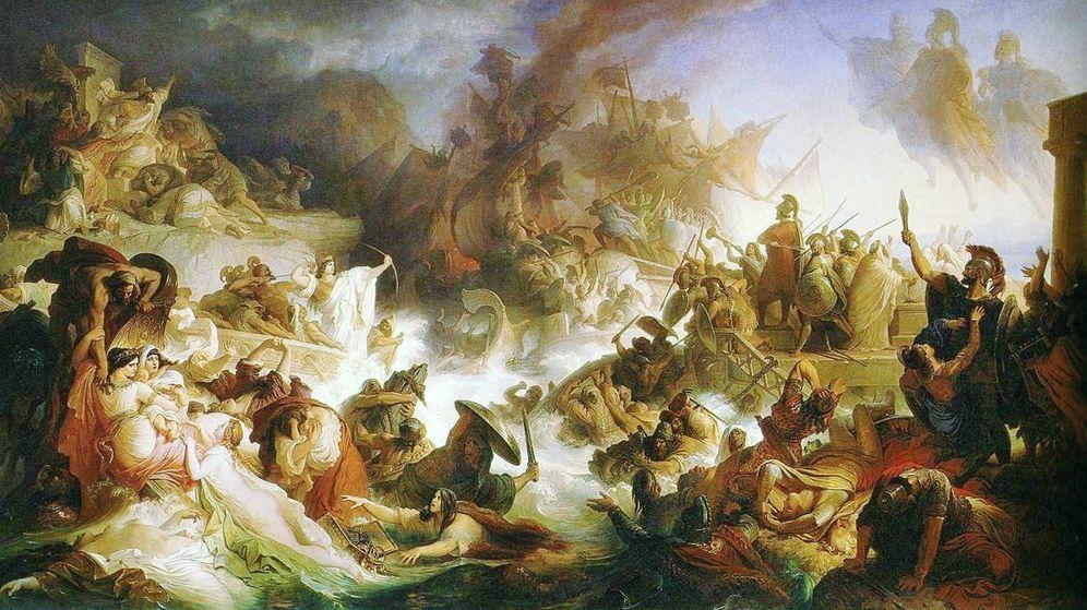 Foto: Batalla de Salamina. óleo sobre tela pintado en 1868 por Wilhelm von Kaulbach