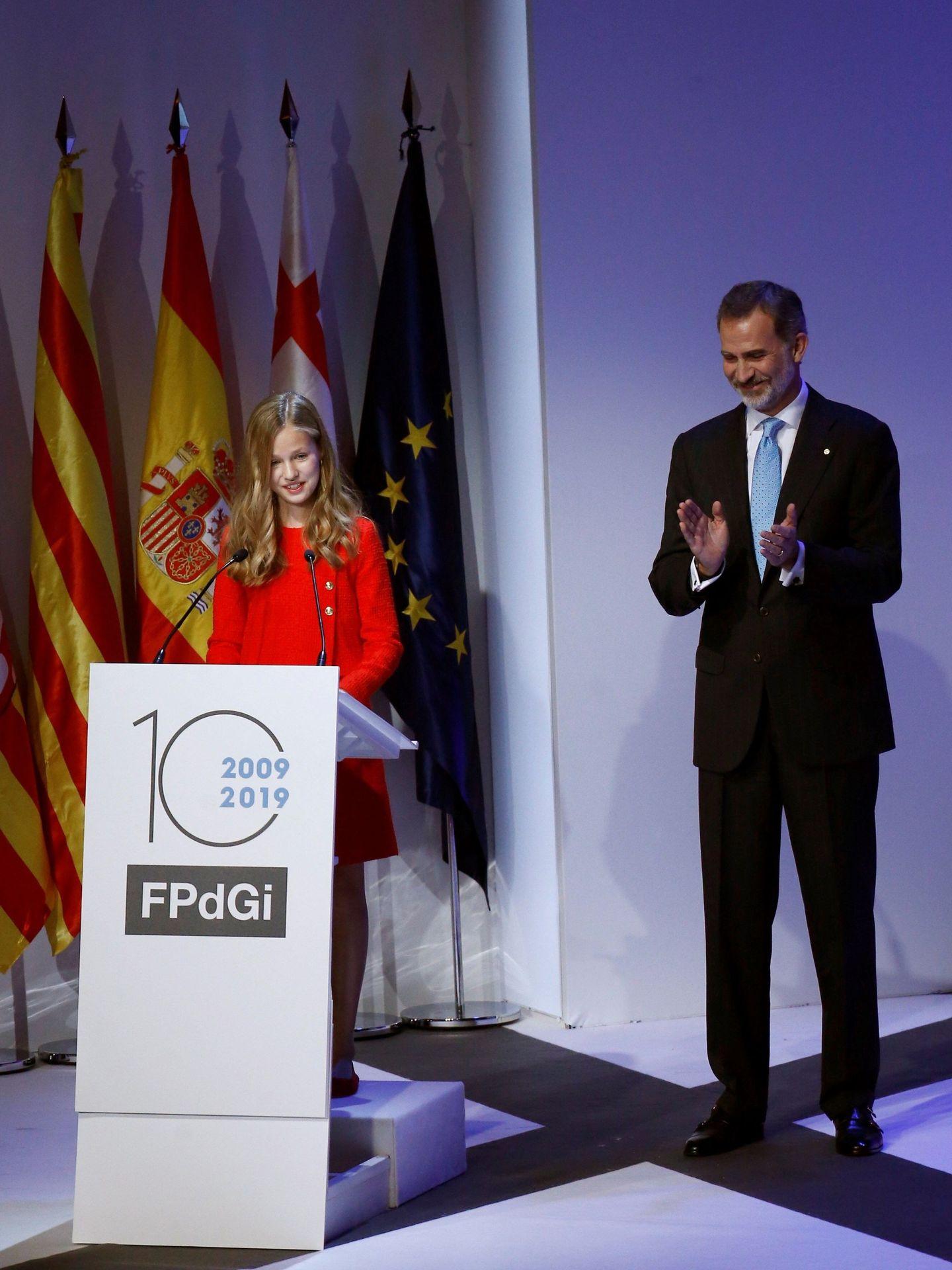 Leonor y el rey Felipe, en la anterior ceremonia. (EFE)