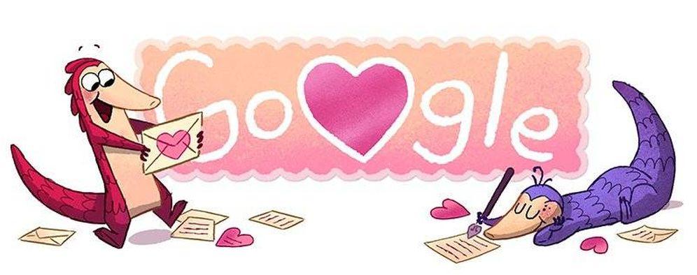 Foto: Los pangolines protagonizan el 'doodle' previo a San Valentín de Google