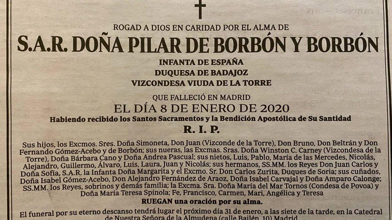 Esquela de la infanta Pilar publicada en el diario 'ABC'.