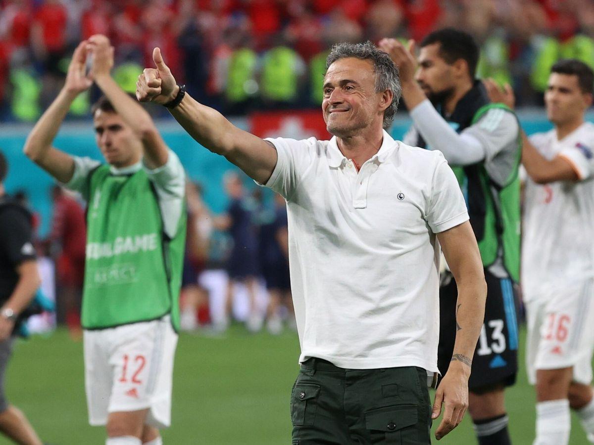 Foto: Luis Enrique celebra el pase a las semifinales de la Eurocopa. (EFE)
