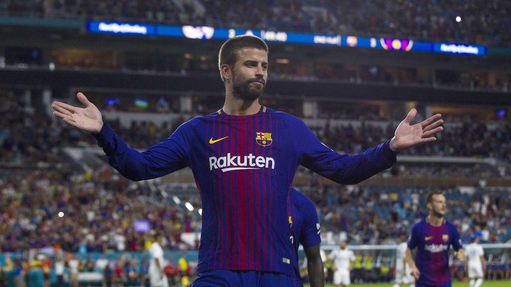 Foto: Piqué celebra su gol con el FC Barcelona al Real Madrid esta pretemporada en Miami. (EFE)