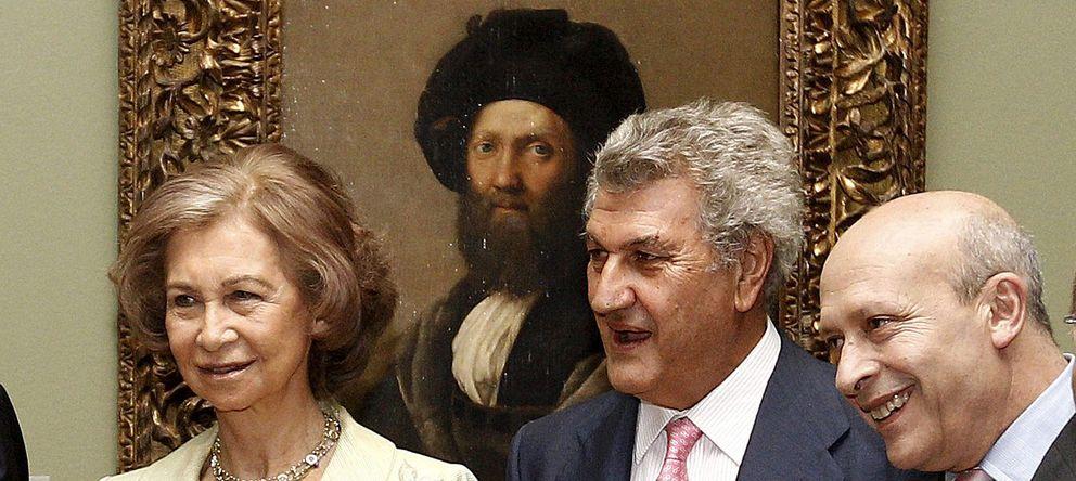 Foto: La reina Sofía, el presidente de la Cámara Baja, Jesús Posada, y el ministro José Ignacio Wert, en la inauguración de 'El último Rafael', en El Prado.