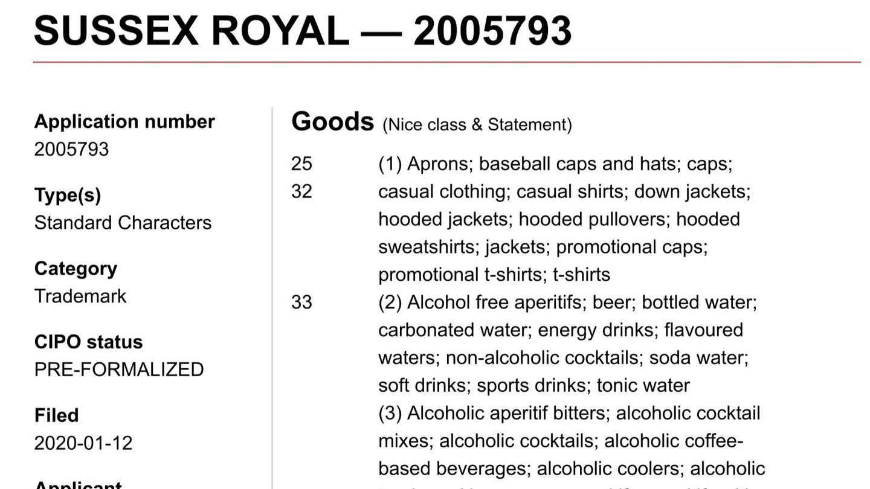 Solicitud de registro de la marca 'Sussex Royal' en Canadá.