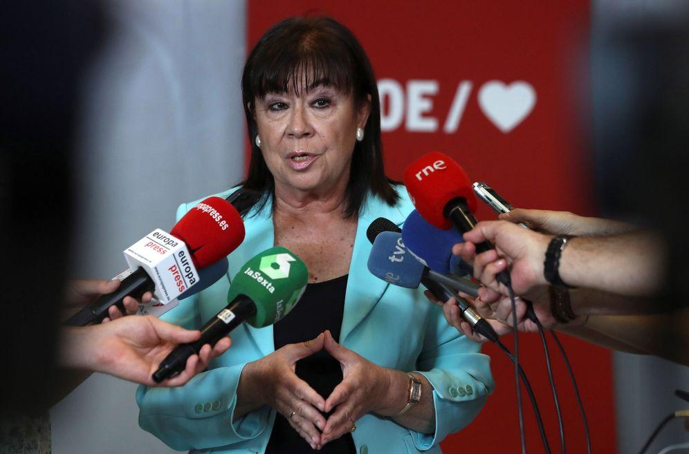 Foto: La presidenta del PSOE, Cristina Narbona, este 27 de julio en Ferraz. (EFE)
