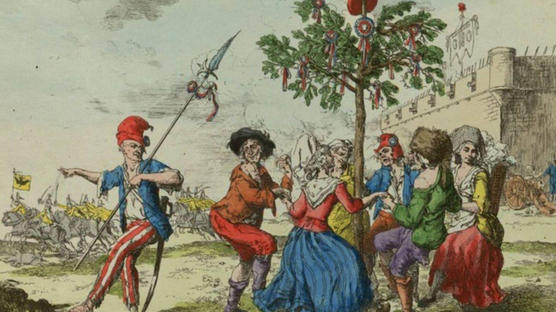 'Sans coulottes' franceses bailando una posible sardana alrededor de una barretina.