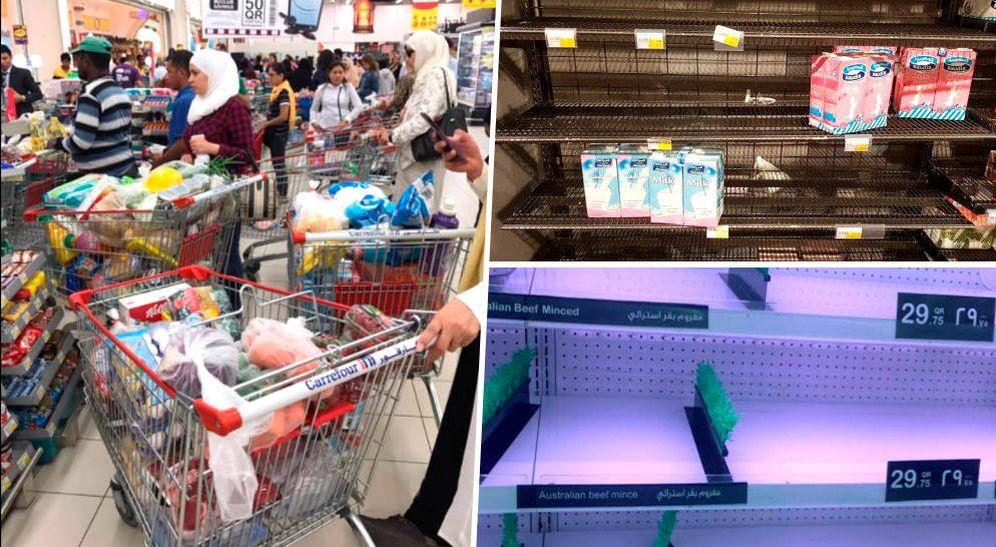 Foto: Imágenes de supermercados llenos y estanterías vacías en varias ciudades de Qatar. (Twitter)