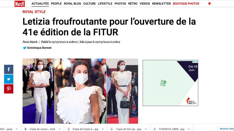 Letizia, en la edición digital de 'Paris Match'.
