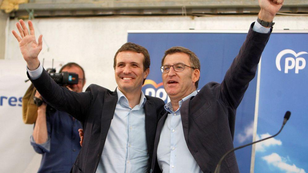 Foto: El presidente del Partido Popular, Pablo Casado (i), y el líder del PP gallego, Alberto Núñez Feijóo (d). (EFE)