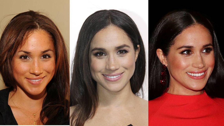 Evolución del maquillaje de Meghan Markle en 2011, 2015 y 2019. (Getty)