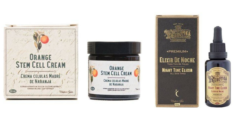 Crema Células Madre de Naranja (25,95 €) y Elixir de Noche Premium (33,95 €). Ambos de Mi Rebotica.
