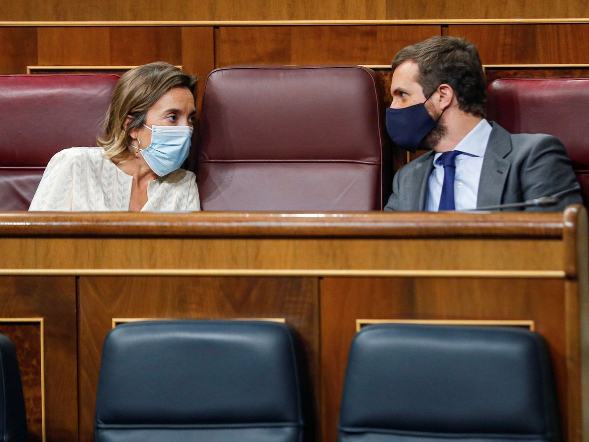 Foto: Pablo Casado conversa con la portavoz parlamentaria del PP, Cuca Gamarra. (EFE)