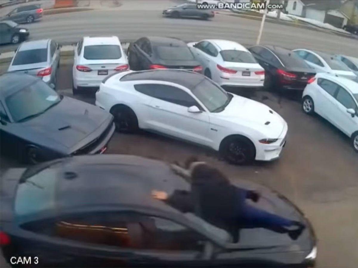 Foto: El vendedor tuvo que saltar sobre el capó para no ser atropellado (YouTube)