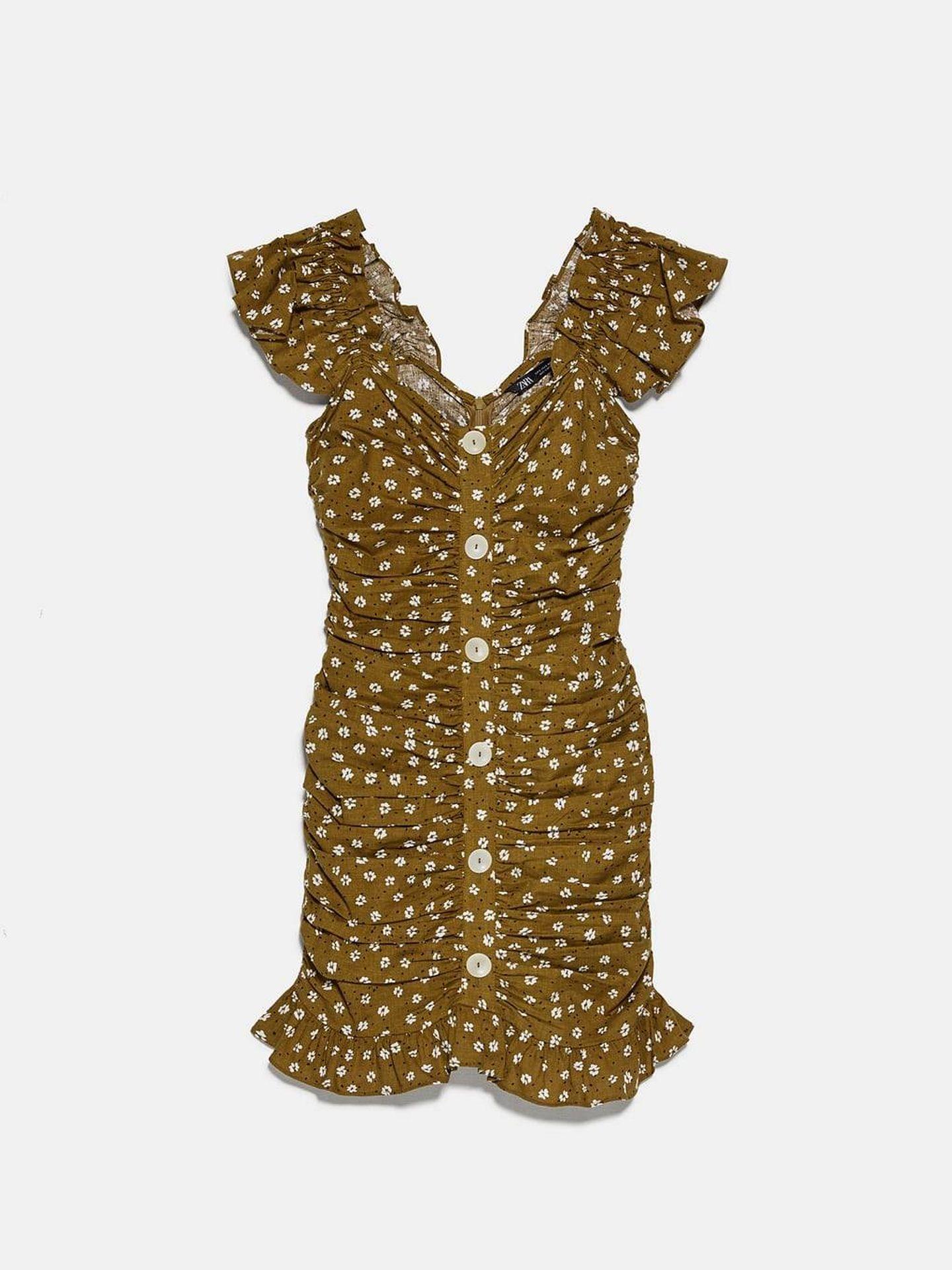 El vestido drapeado de Zara. (Cortesía)