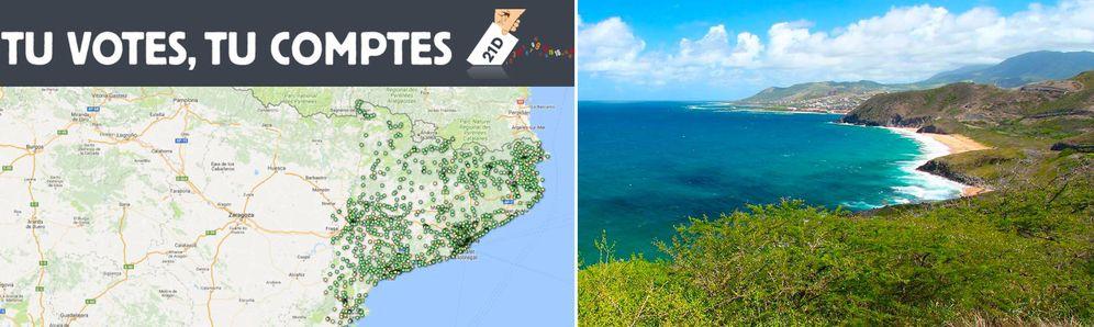 Foto: Imagen de la página web cataloniavotes.today y de la Isla de San Cristóbal y Nieve.