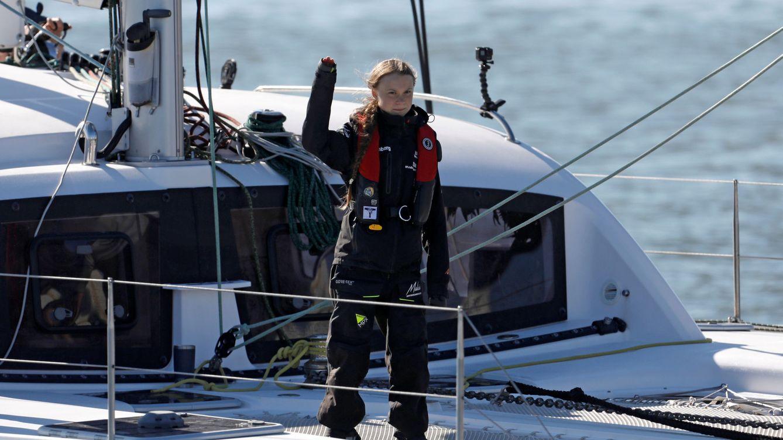 Foto: Greta Thunberg a su llegada al muelle de Santo Amaro. (Reuters)