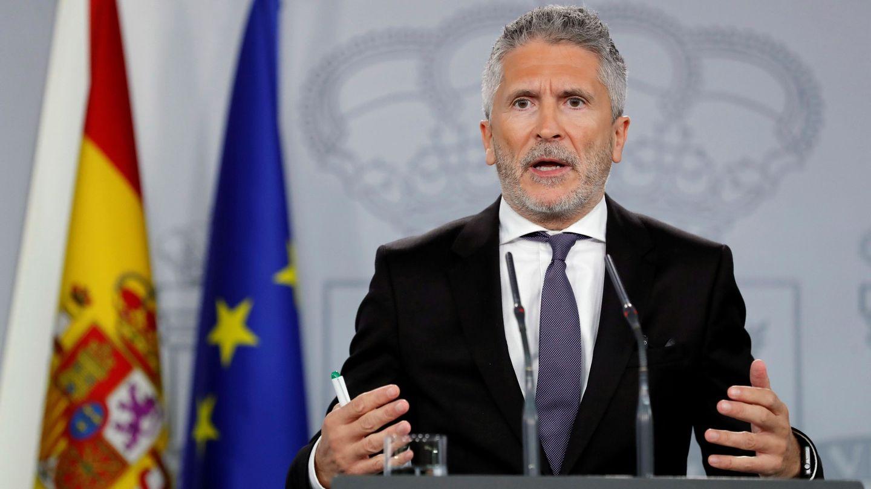 El ministro de Interior, Fernando Grande Marlaska, tras el gabinete de crisis celebrado en Moncloa. (EFE)