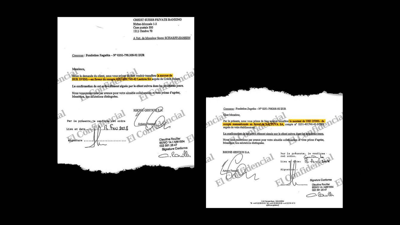 Foto: Órdenes de transferencias a la nueva cuenta de Credit Suisse. (EC)