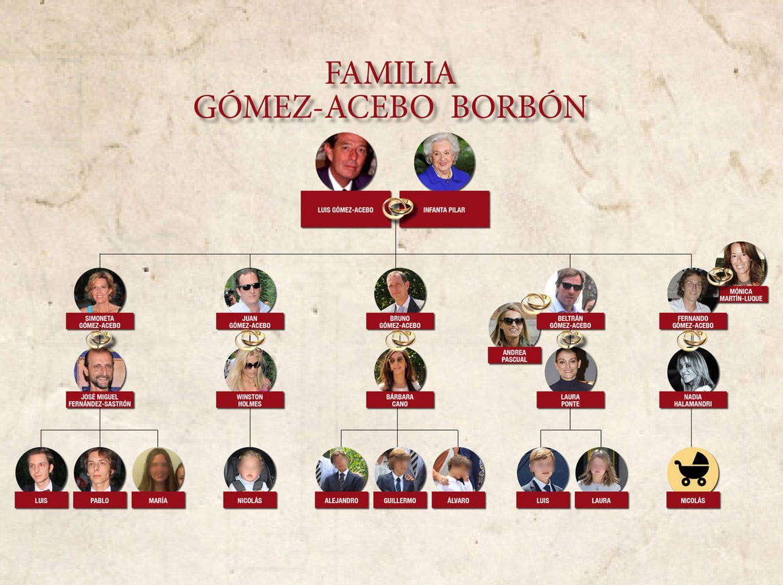 Foto: Árbol genealógico de los Gómez-Acebo y Borbón