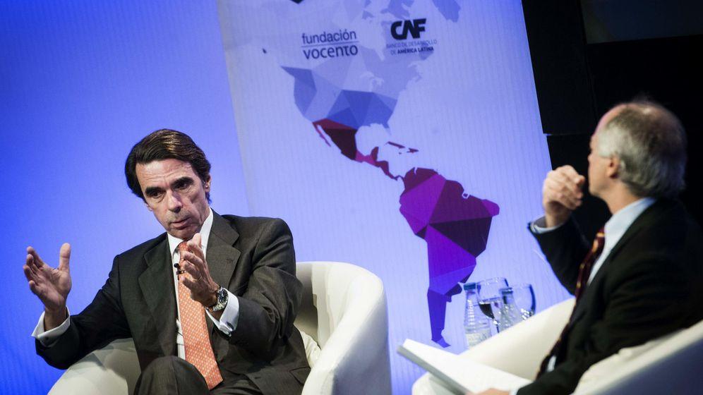 Foto: El expresidente del Gobierno José María Aznar durante su última participación en una charla coloquio. (Efe)