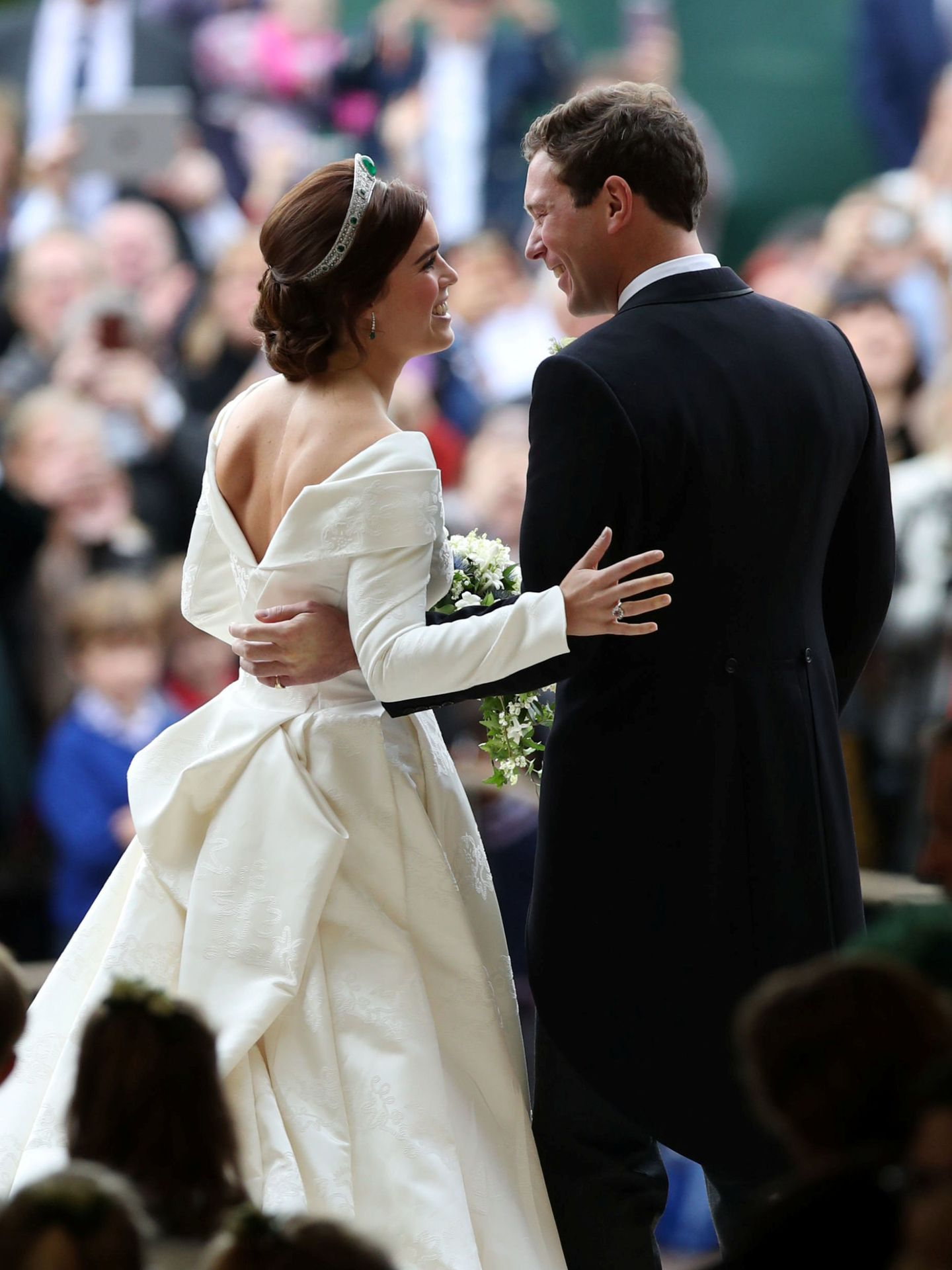 Princess Eugenie and her new husband Jack Brooksbank kiss as they leave St George's Chapel in Windsor Castle following their wedding, Windsor, Britain, October 12, 2018. Yui Mok Pool via REUTERS