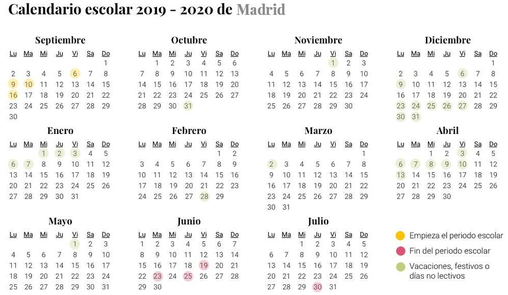 Foto: Calendario escolar 2019-2020 de Madrid (El Confidencial)