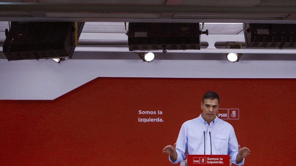 Foto: Pedro Sánchez, durante su rueda de prensa de este 4 de septiembre en Ferraz. (EFE)