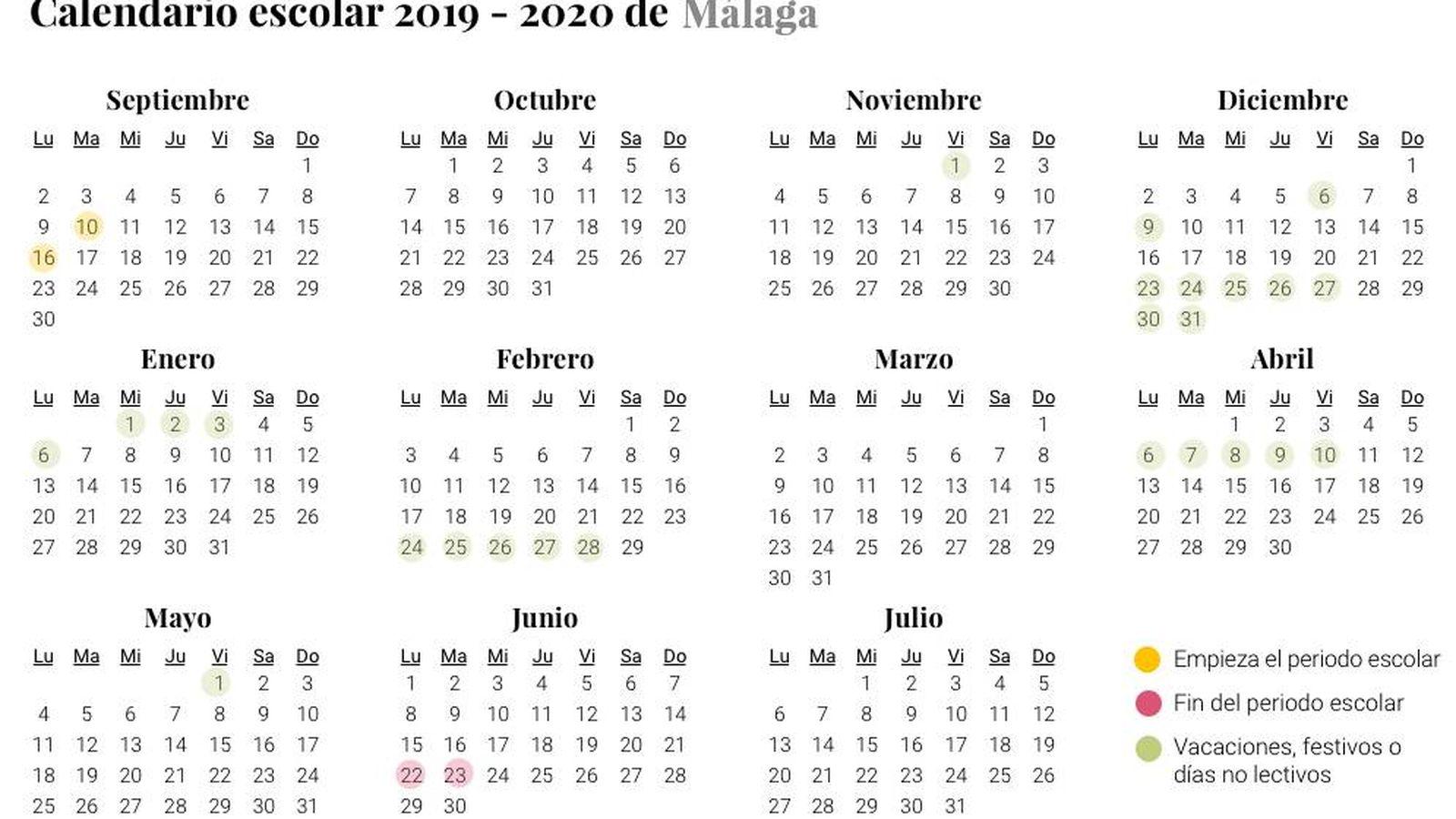 Calendario 2020 Con Festivos Andalucia.Calendario Escolar De 2019 2020 En Malaga Vacaciones Y