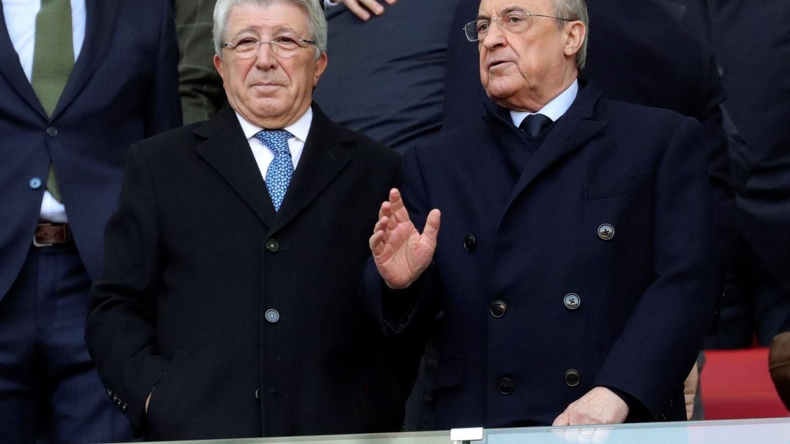 Foto: Florentino Pérez junto a Enrique Cerezo en el palco del Wanda Metropolitano. (EFE)
