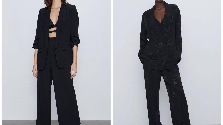 Dos nuevos trajes negros de Zara. (Cortesía)