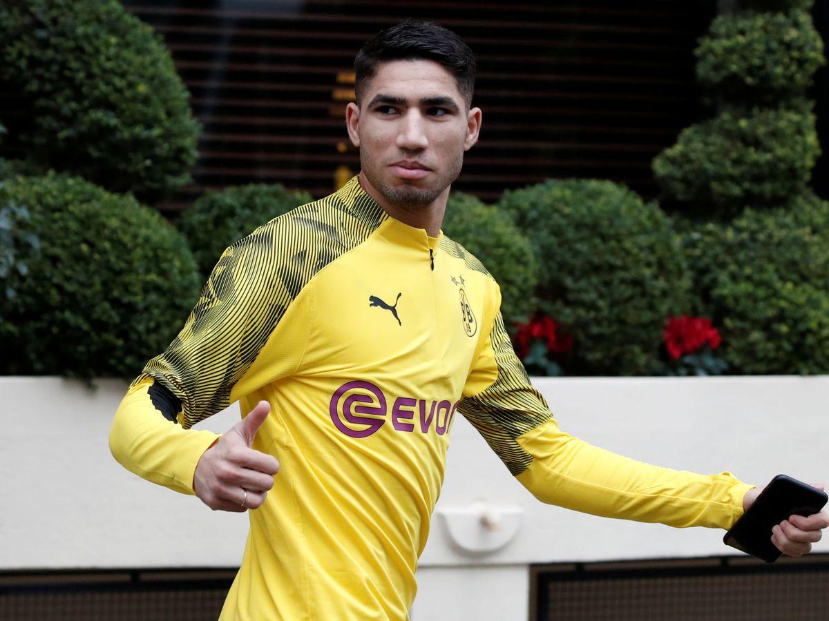 Foto: Achraf Hakimi con el Borussia Dortmund. (Efe)