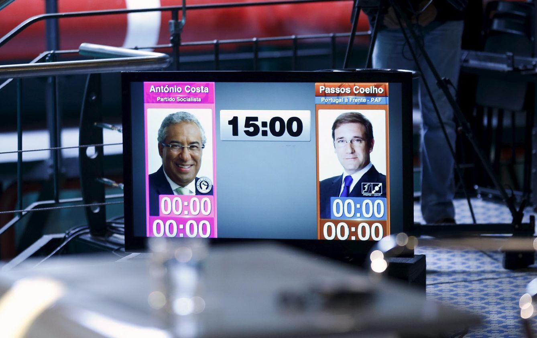 Foto: Una pantalla muestra imágenes de Passos Coelho y el candidato socialista António Costa antes de un debate, en Lisboa, el 17 de septiembre de 2015 (Reuters).