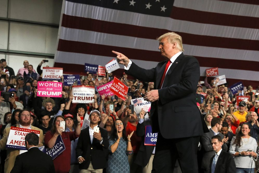 Foto: El presidente Trump durante un mitin de campaña en el Middle Georgia Regional Airport, en Macon, Georgia. (Reuters)