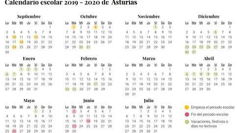 Calendario escolar 2019-2020 en Asturias: días festivos y vacaciones del nuevo curso