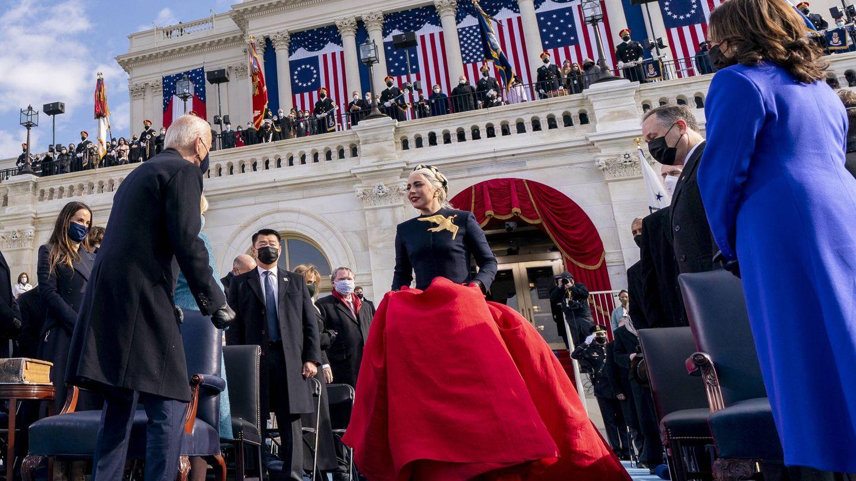 Lady Gaga, durante la toma de posesión de Joe Biden. (Getty)