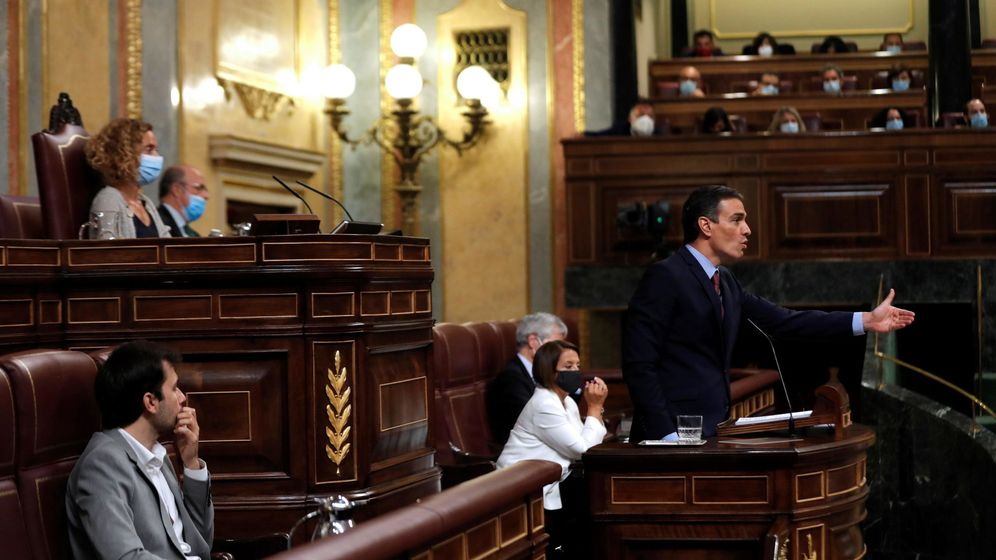 Foto: El presidente del Gobierno, Pedro Sánchez, en la tribuna del Congreso. (EFE)