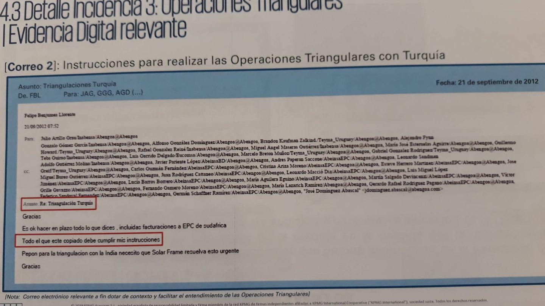 Correo de Felipe Benjumea identificado por KPMG como clave. (C. P.)