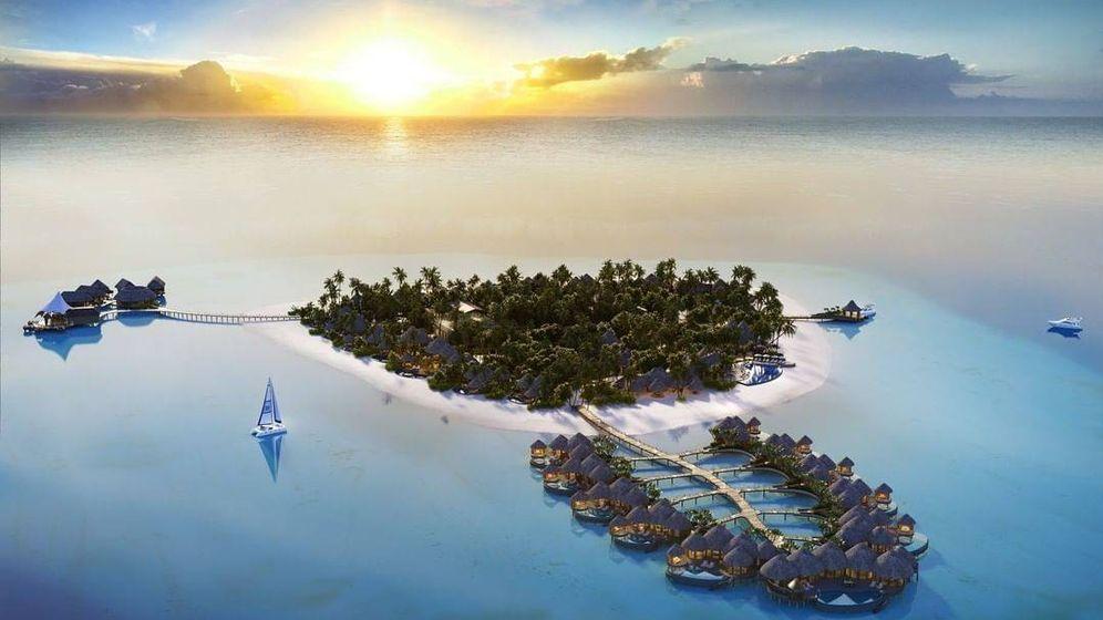 Foto: El resort The Nautilus en Maldivas, a vista de pájaro. (Instagram)