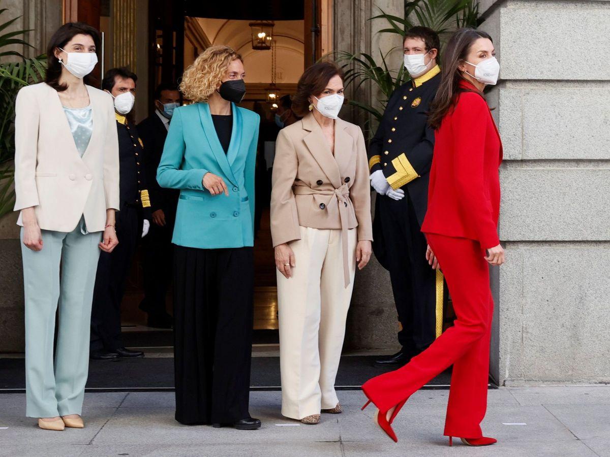 Foto: La reina Letizia, a su salida del Congreso. (EFE)