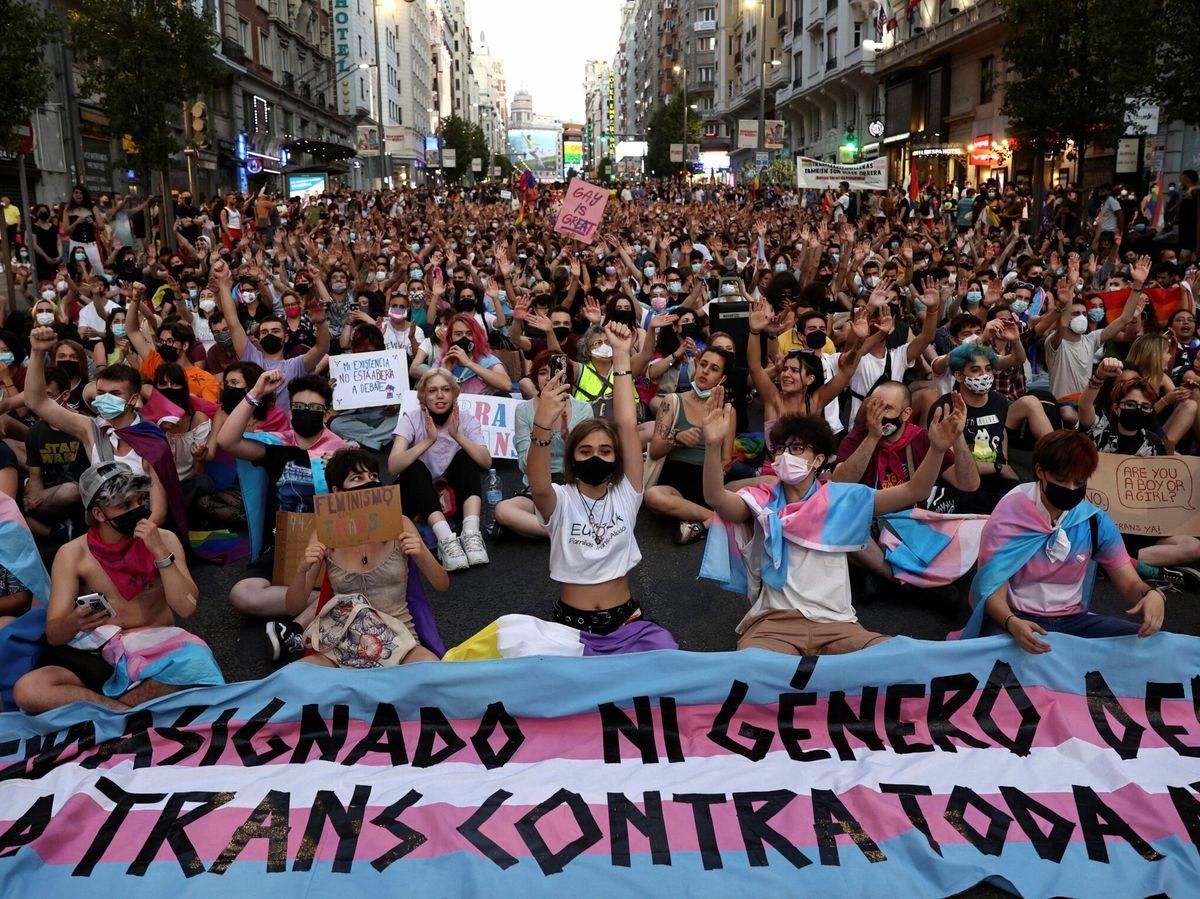 Foto: Centenares de personas participan en la manifestación convocada por Orgullo Crítico Madrid. (EFE)