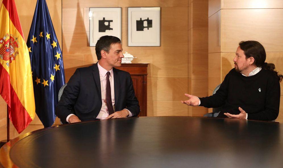 Foto: Pedro Sánchez y Pablo Iglesias, durante su última reunión pública juntos, el pasado 11 de junio en el Congreso. (Inma Mesa | PSOE)