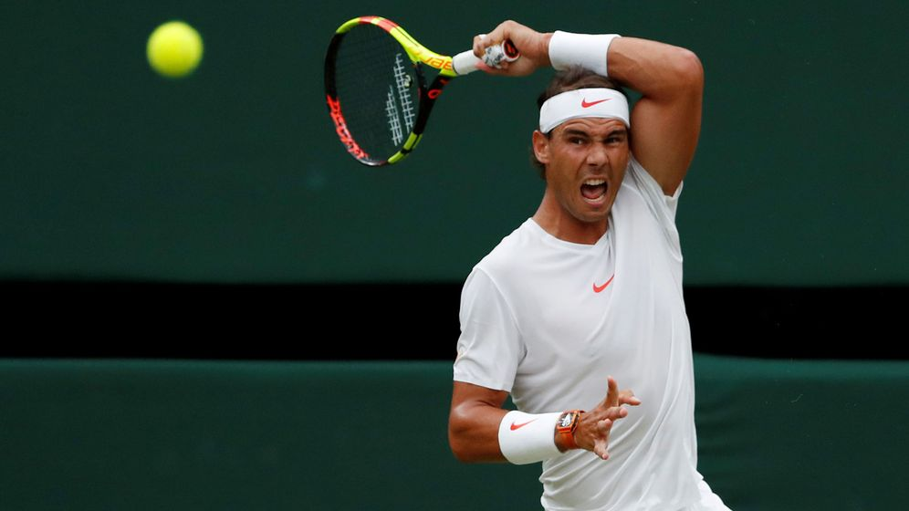 Foto: Rafa Nadal durante un partido de Wimbledon en 2018. (Reuters)