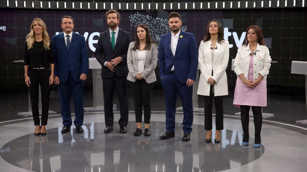Foto: Debate electoral a siete en los estudios de RTVE de Prado del Rey. (EFE)