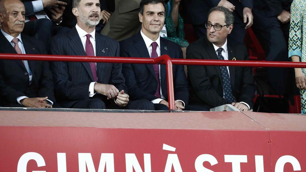 Foto: Quim Torra coincidió con el Rey y Pedro Sánchez en los Juegos del Mediterráneo. (EFE)