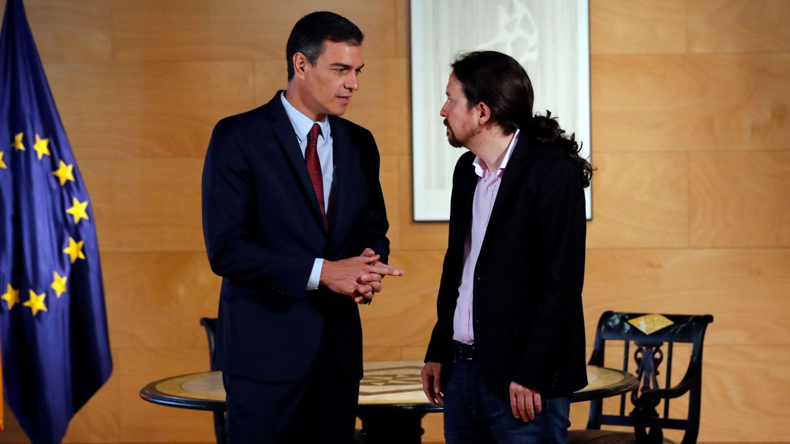 Foto: Pedro sánchez se reúne con Pablo Iglesias en Moncloa. (EFE)