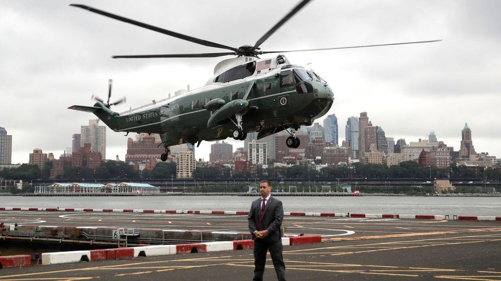 Foto: El helicóptero presidencial Marine One aterriza en Manhattan, el 23 de septiembre de 2018. (Reuters)