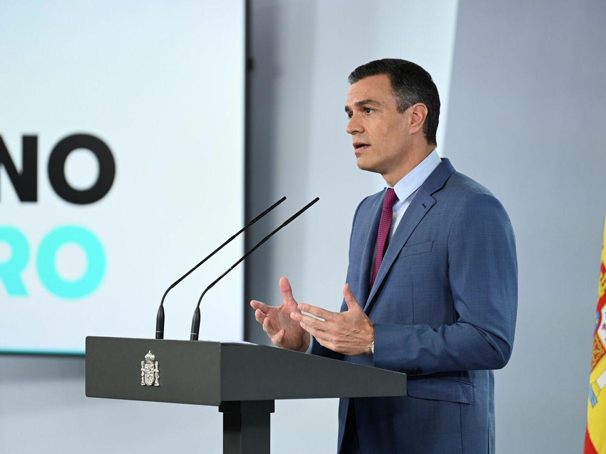 Foto: El presidente del Gobierno, Pedro Sánchez, durante su comparecencia el pasado sábado para dar a conocer la nueva composición del Gobierno. (EFE)