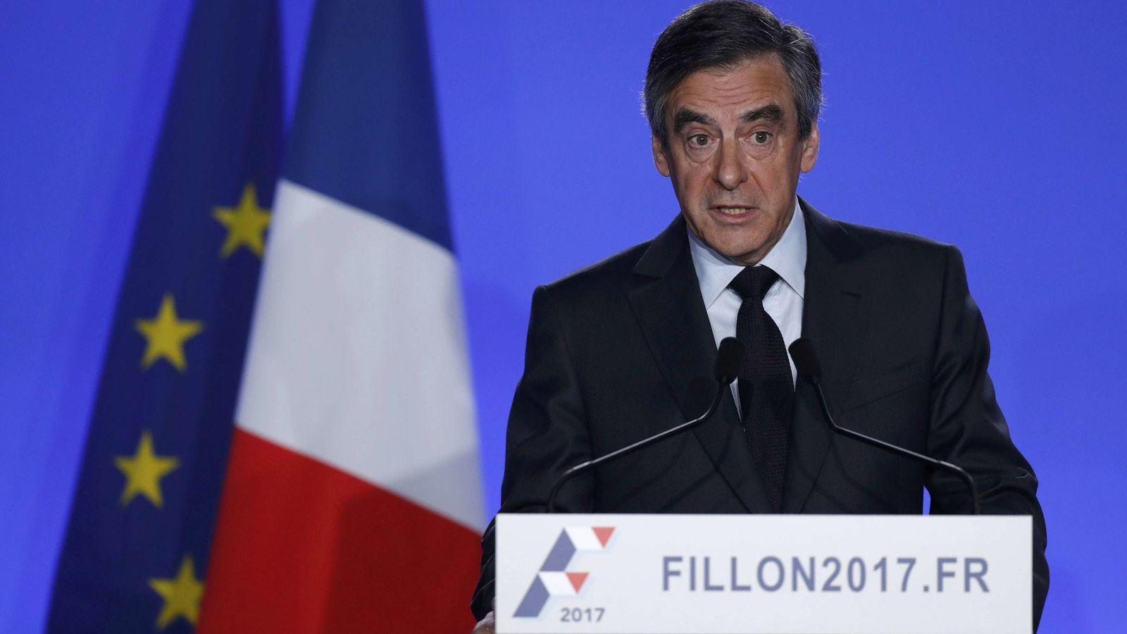 Foto: Francois Fillon, candidato del centro derecha, durante su comparecencia en la sede de su campaña, en París (Reuters).