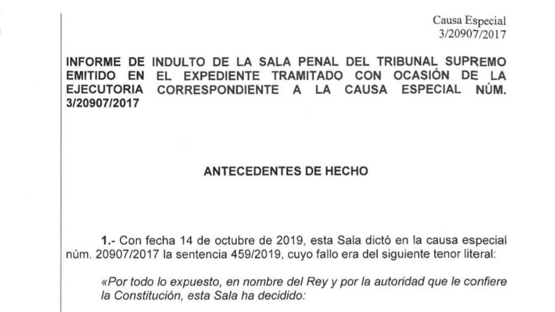Informe del Supremo contrario a los indultos. (EC) Pinche en la imagen para ampliar y leer al completo.