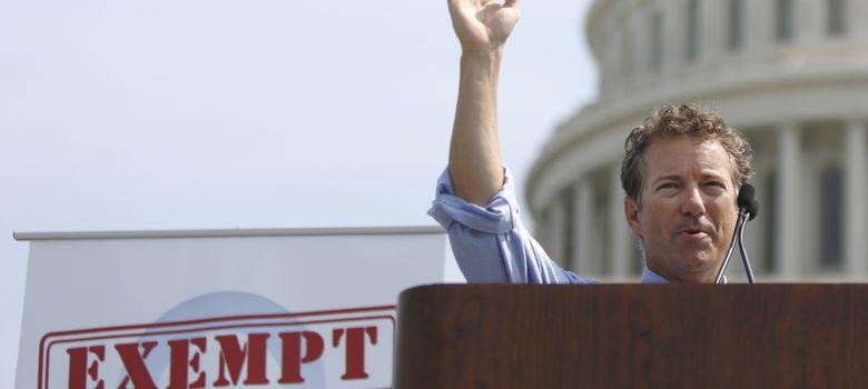 Foto: El senador Rand Paul en una protesta del Tea Party contra el programa sanitario de Obama. (Reuters)